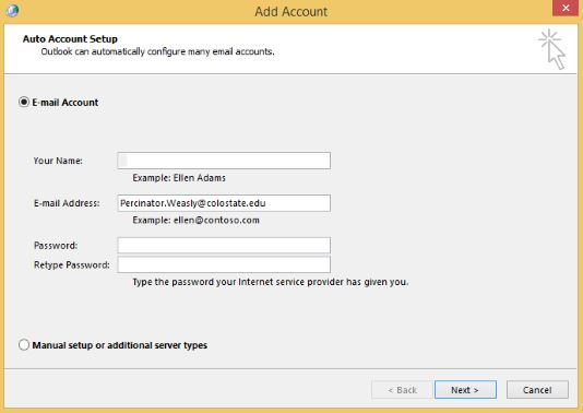 Auto account setup without autofill. Type in the email address, not manual setup