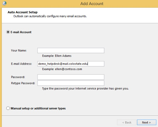 Auto Account Setup with email address entered