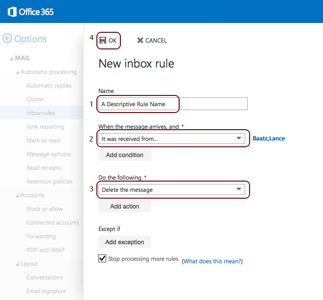 how to run inbox rules in office 365
